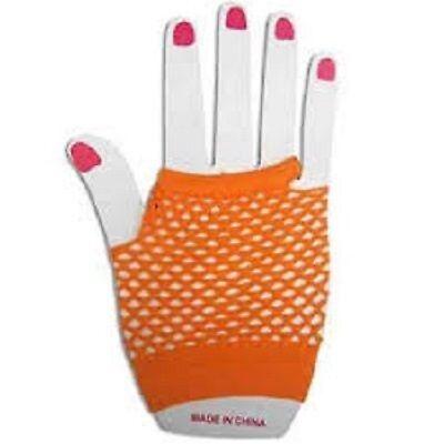 Neon Farben Shorts Fischnetz Kostüm Fingerlose Handschuhe Orange - Neonfarbene Kostüme