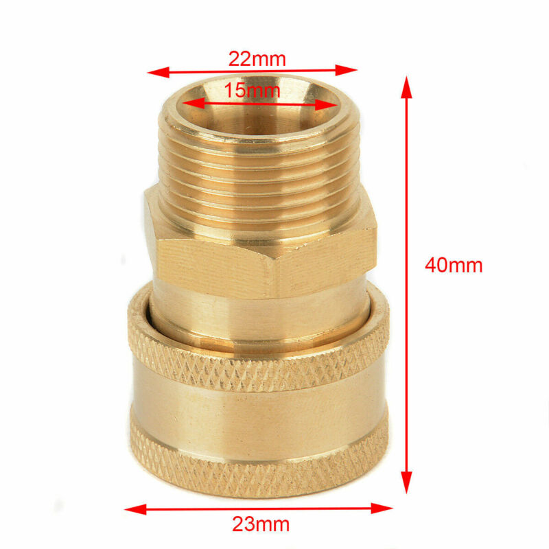 "High Pressure Washer Brass Hose Coupler Socket Quick Connect 1/4"" Male"