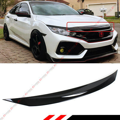 FOR 2016-2018 HONDA CIVIC Si GLOSS BLACK FRONT HOOD BUMPER UPPER TRIM NOSE COVER