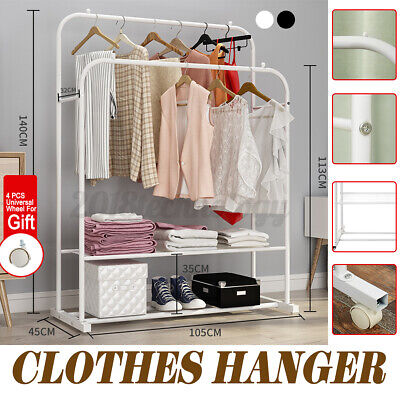 Usa Heavy Duty Clothing Clothes Garment Retractable Rack Hanger Shelf-double Rod