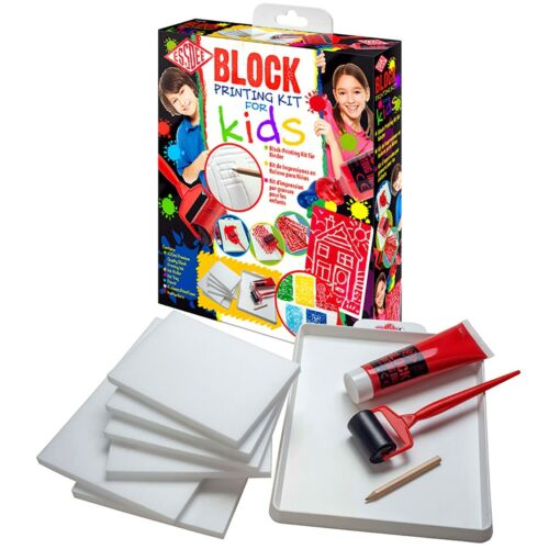 New! Essdee PREMIUM Block Printing Kit for KIDS - Ink Tray Roller + More! Set