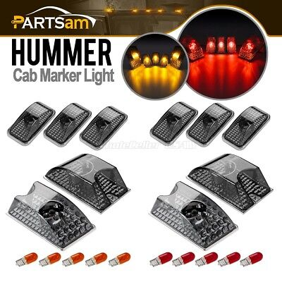 - 10) Smoke Roof Clearance Top Marker Lights w/Red+Amber Bulbs for 03-09 Hummer H2