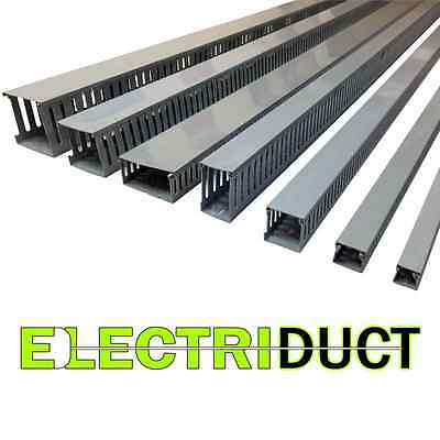 1x1 Open Slot Wire Duct - 6 Sticks - Total Feet 39ft - Gray - Electriduct