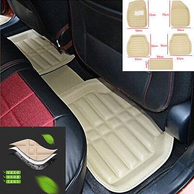 Beige 5Pc Universal Car Floor Mats FloorLiner FrontRear Carpet All Weather Mat