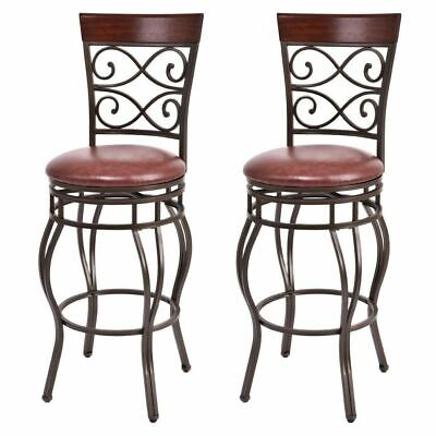 2 Metal Swivel Bar Stools (Vintage Bar Stools Swivel Padded Seat Bistro Dining Kitchen Pub Chair- Set of 2 )