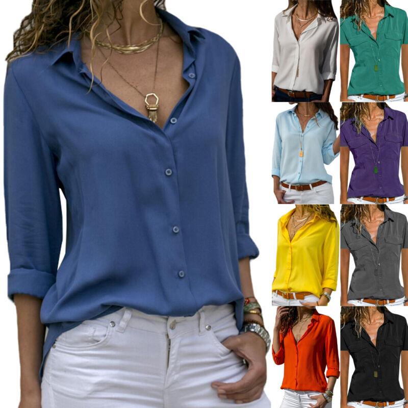 Damen Kurzarm / Langarm Blusen T-Shirt Freizeithemd Longbluse Hemden Hemd Shirts