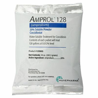 Amprol 128 Amprolium 20 Soluble Powder Coccidiostat 10oz Treats 128gal