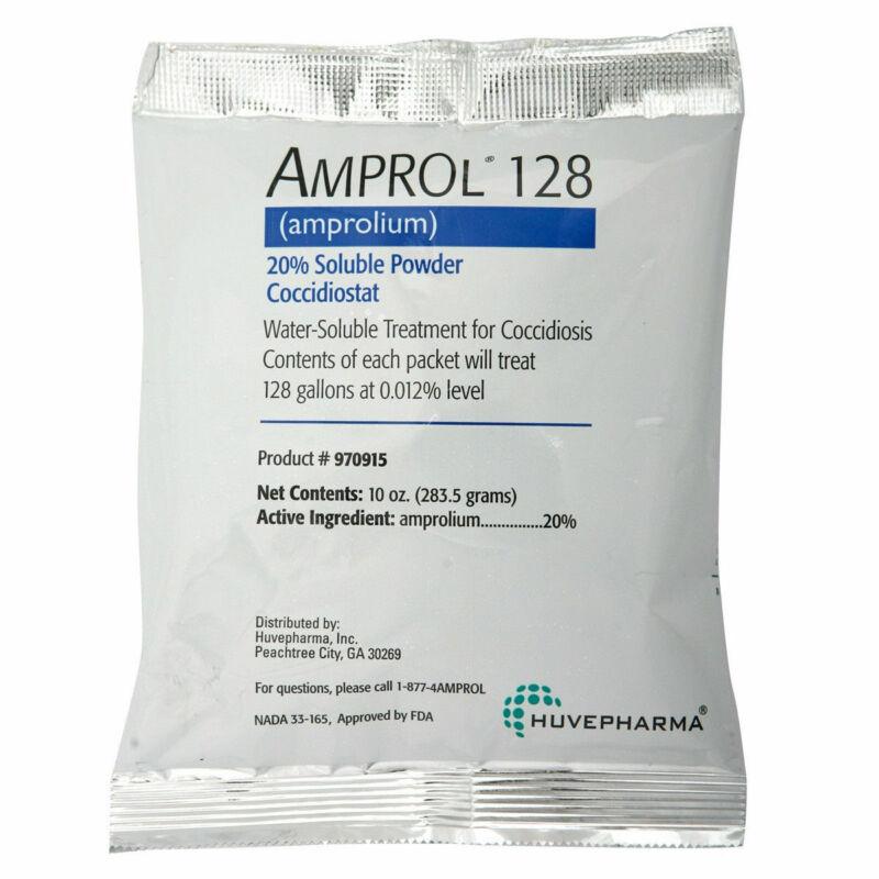 Amprol 128 Amprolium 20% Soluble Powder Coccidiostat 10oz Treats 128gal