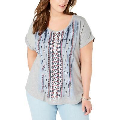 Style & Co. Womens Cuff Sleeve Tribal Tee T-Shirt Top Plus BHFO 0707