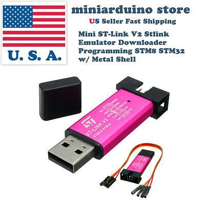 Mini St-link V2 Stlink Emulator Downloader Programming Stm8 Stm32 W Metal Shell