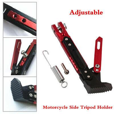 Adjustable CNC Motorcycle Side Tripod Holder Bracket Fall Protect Foot KickStand