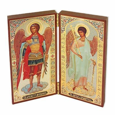 """Diptych of St Michael & Guardian Angel Wooden Gold & Silver Foiled Icons 5""""x5"""""""