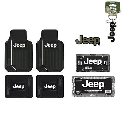 New Jeep Elite Car Truck Front Back Floor Mat / License Plate Frame / Seat Cover ()