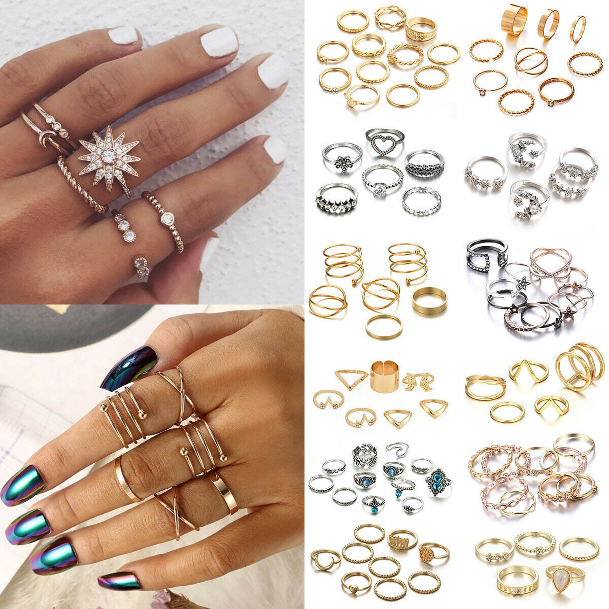 Fashion Silver Gold Boho Stack Plain Above Knuckle Ring Midi