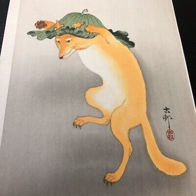 Japanese Reproduction Woodblock Print 345 by Ohara Koson on Parchment Paper.
