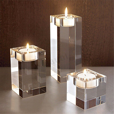 7 SIZES Elegant Crystal Cube Candle Holders Tealight Stand Wedding Table Decor