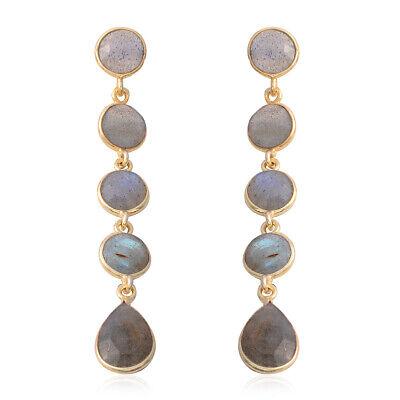 925 Sterling Silver Vermeil Yellow Gold Plated Labradorite Dangle Drop Earrings - Gold Labradorite Earrings