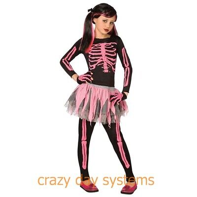 WMU Girls Skeleton Punk Costume, Pink, Large 10/12 NWT
