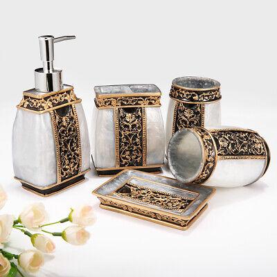 5Pcs Bathroom Accessory Set Resin Tumbler Toothbrush Dispenser Soap Cup Holder Bath