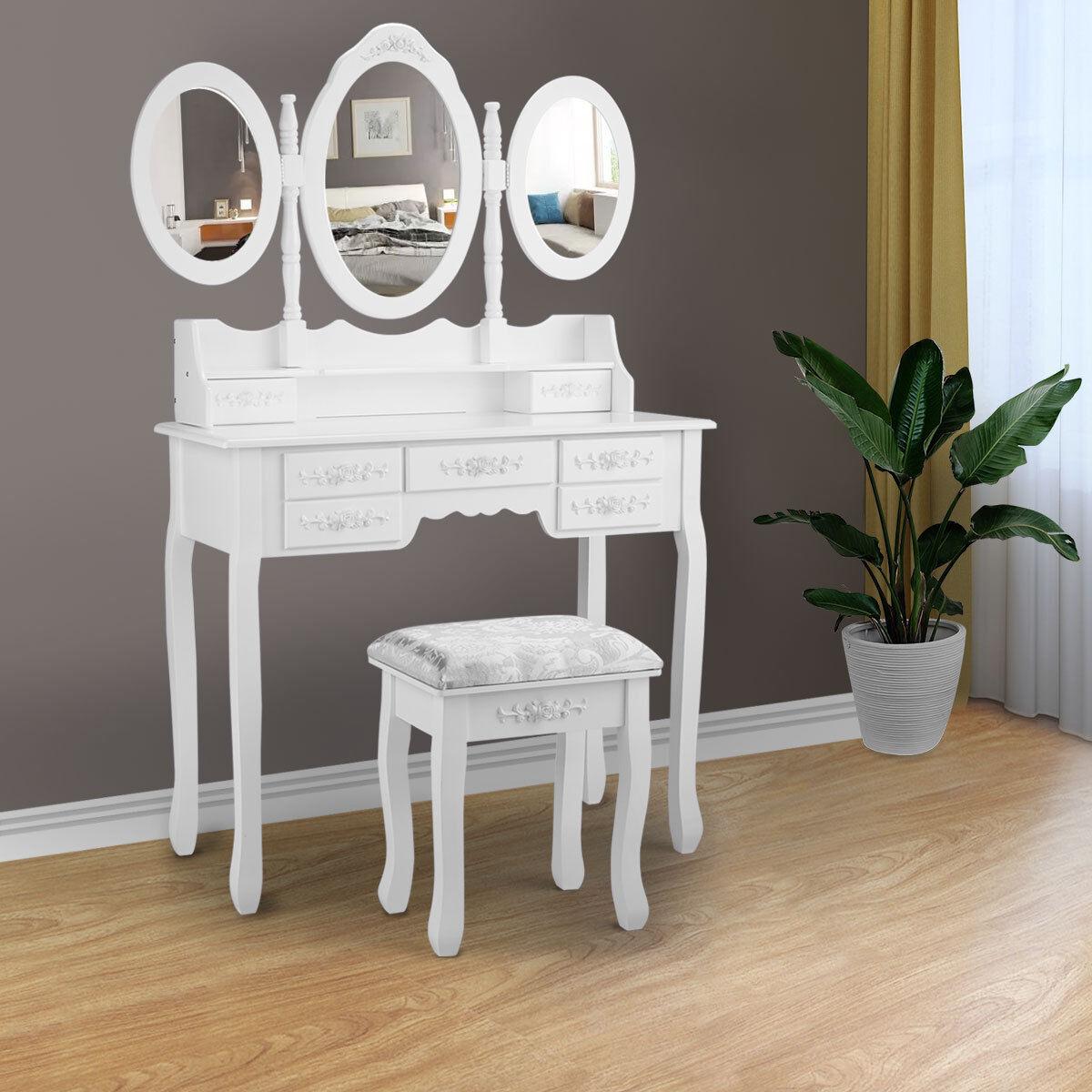 Dressing Table Set Bedroom Vanity 3mirror 7drawer White Makeup Desk