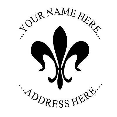 Fleur-de-lis Custom Return Address Round Self Inking Rubber Stamp -custom- Fleur