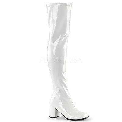 Sexy Retro 70's 60's Mod Gogo Dancer Halloween Costume White Thigh High Boots - Thigh High Boots Halloween Costumes