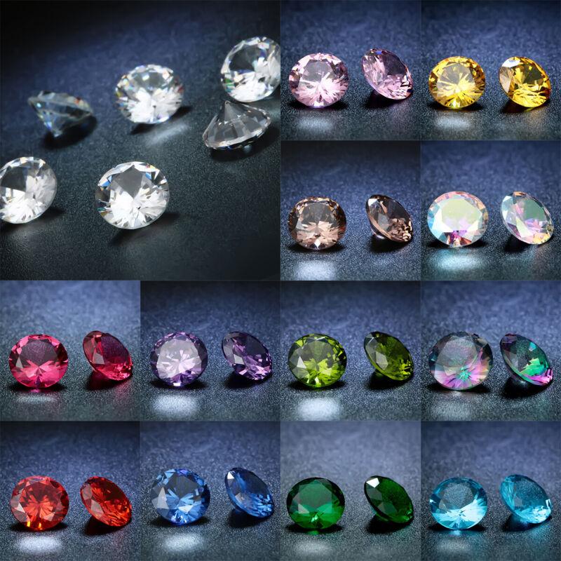 1PC Size 8mm Round Cut AAAA Natural Zircon Gems Diamonds Loose Gemstone 14Colors
