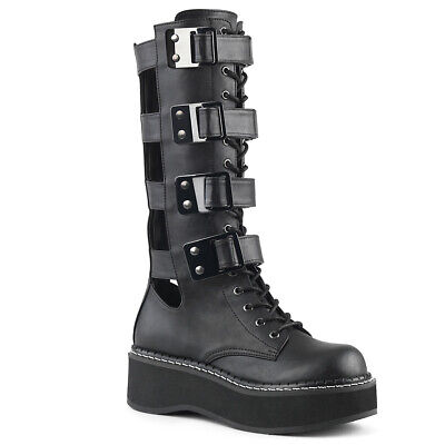 Black Womans Platform Knee High Goth Gothic Buckle Boots Cut Outs Demonia Emily