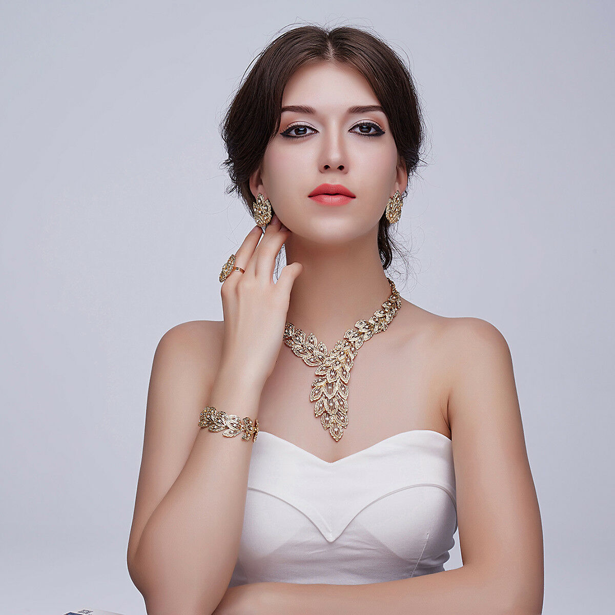 18k gold plated scarf shaped crystal chain