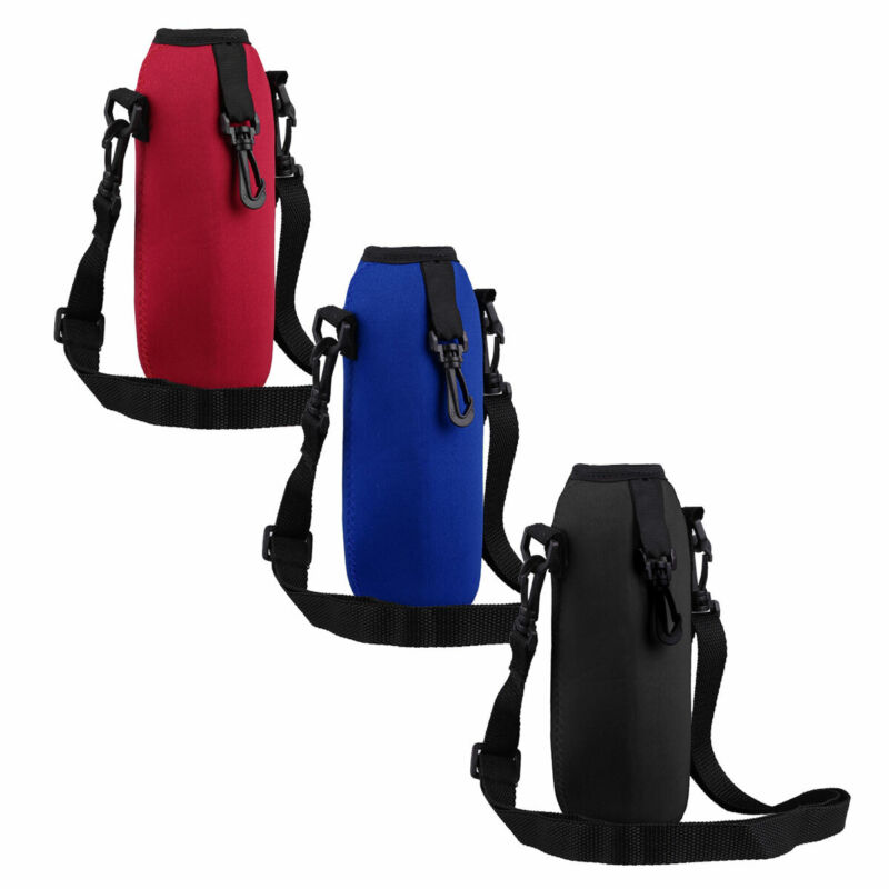 1Pc Zipper Water Bottle Carrier Insulated Cover Bag Holder Strap Pouch 1.1L-2L