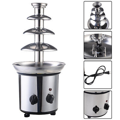 $42.99 - 4 Tiers Commercial Stainless Steel Hot New Luxury Chocolate Fondue Fountain New