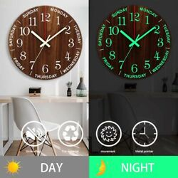 12 Inch Luminous Wall Clock Wooden Silent Non-Ticking With Night Light Bedrooms