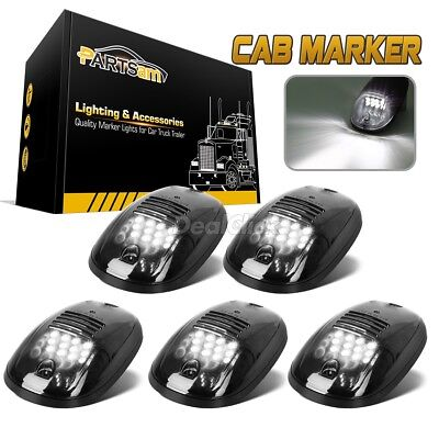 5pcs Smoked Cab Roof Marker Lights White 6K For 2003-2018 Dodge Ram 2500 3500