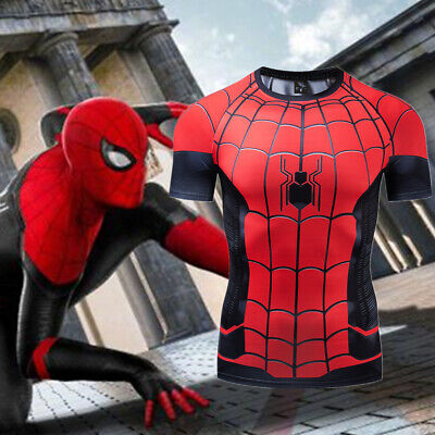 Marvel Avengers Spiderman Ironman Compression Short Sleeve T-Shirts Costume Play (Costumes T Shirts)
