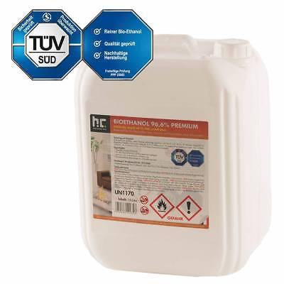 10 Liter Bioethanol Premium 96,6% Kamin Alkohol TÜV SÜD geprüfte Ware