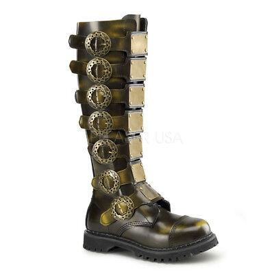 DEMONIA STEAM-30 Women's Steampunk Bronze Steel Toe Leather Knee High Boots 6](Steampunk Knee High Boots)