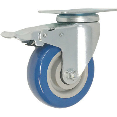 Swivel Plate Caster 3 Blue Polyurethane Wheel Base Total Lock Brake