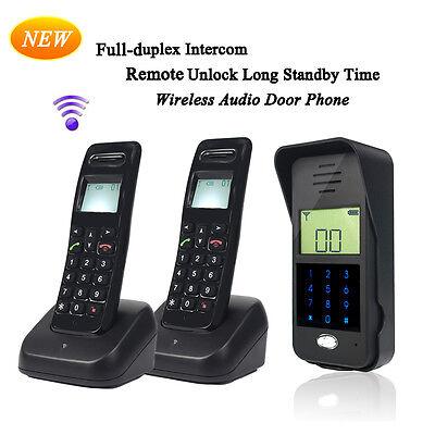 New 2.4GHz Wireless Door Intercom System 1 Outdoor Unit+2 Handsets remote unlock