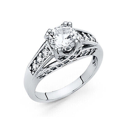 1.25CT Woven Double-Prong & Pave Round-Cut CZ Engagement Ring in 14K White Gold ()