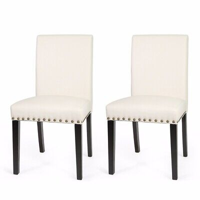 1Pair sleek Elegant parson Modern nailhead trim Dining Chairs Barton Furniture ()