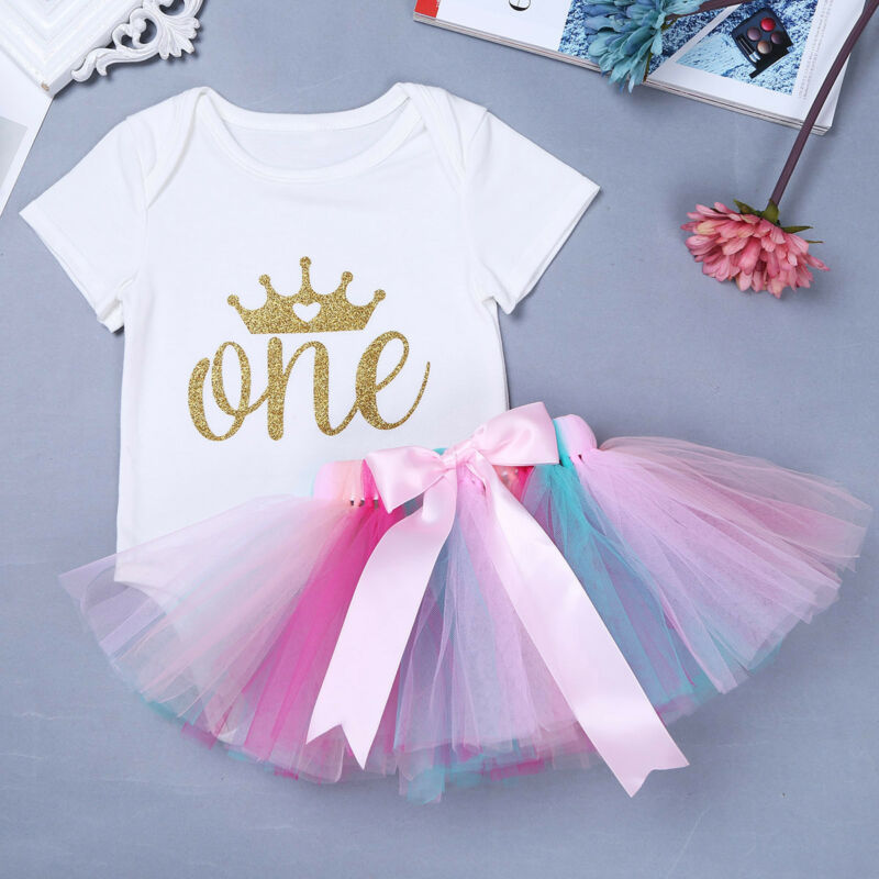 Infant Baby Girls 1st Birthday Outfits Short Sleeve Romper Tutu Skirt 2pcs//Set
