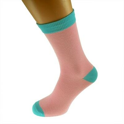Pink Mens Socks with Turquoise heal and toes, popular Wedding Day Socks...