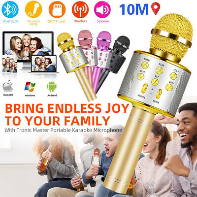 Wireless Bluetooth Karaoke Microphone Handheld Mic Speaker Home KTV Player