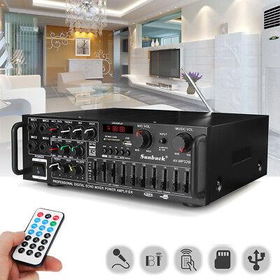 800W 4 ohm 2CH EQ Home LED Digital Bluetooth Stereo Amplifier USB Disk/SD Card