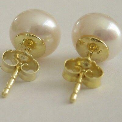 Perlen Ohrstecker 333 Gold Süßwasser Zuchtperlen Bouton 8mm Damen Ohrringe Natur