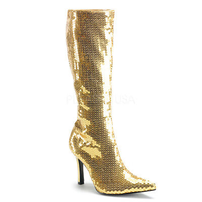 Gold Sequin Knee High Shera Princess of Power Cosplay Costume Boots Womans 7 8 9