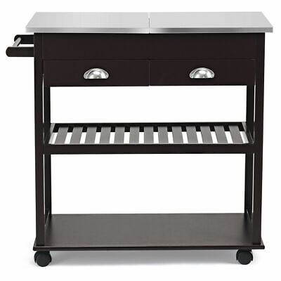 Multi-functional Rolling Kitchen Island w/ Stainless Steel Tabletop Drawer Brown