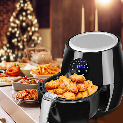 4qt 1350W Air Fryer LCD Touch Screen Oil Free 360° Heating Cooking Kitchen