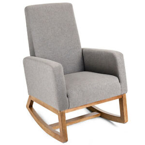 Merveilleux Mid Century Retro Modern Fabric Upholstered Rocking Chair Relax Rocker Gray  New