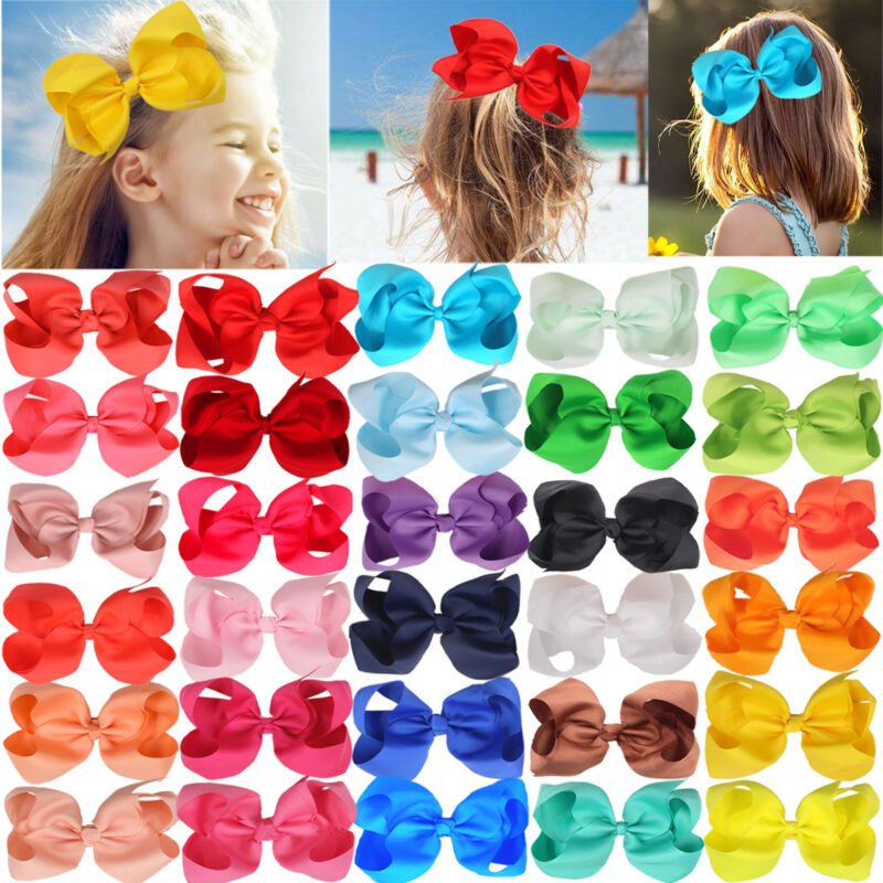 30Pc Baby Girls 6 Inch Big Hair Bows Clip Large Cheer Bow Alligator Hair Clips